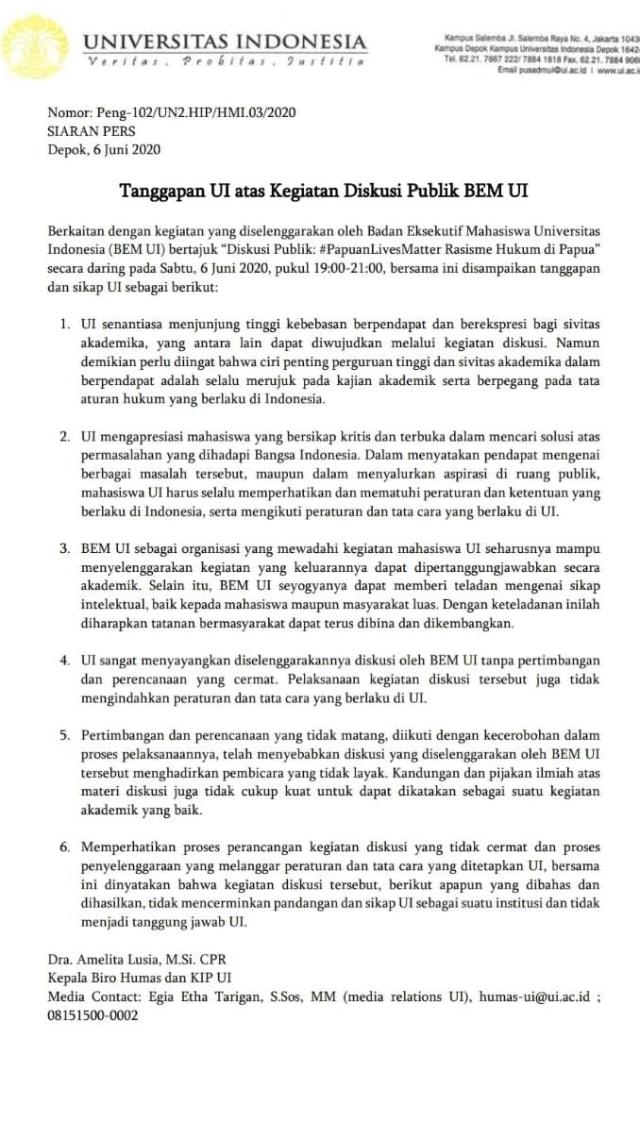 Teguran UI untuk BEM UI soal Diskusi #PapuanLivesMatter (39649)