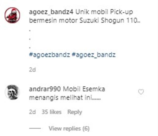 Mobil Pikap Pakai Mesin Suzuki Shogun, Reaksi Netizen: Esemka Nangis Lihat Ini  (207928)