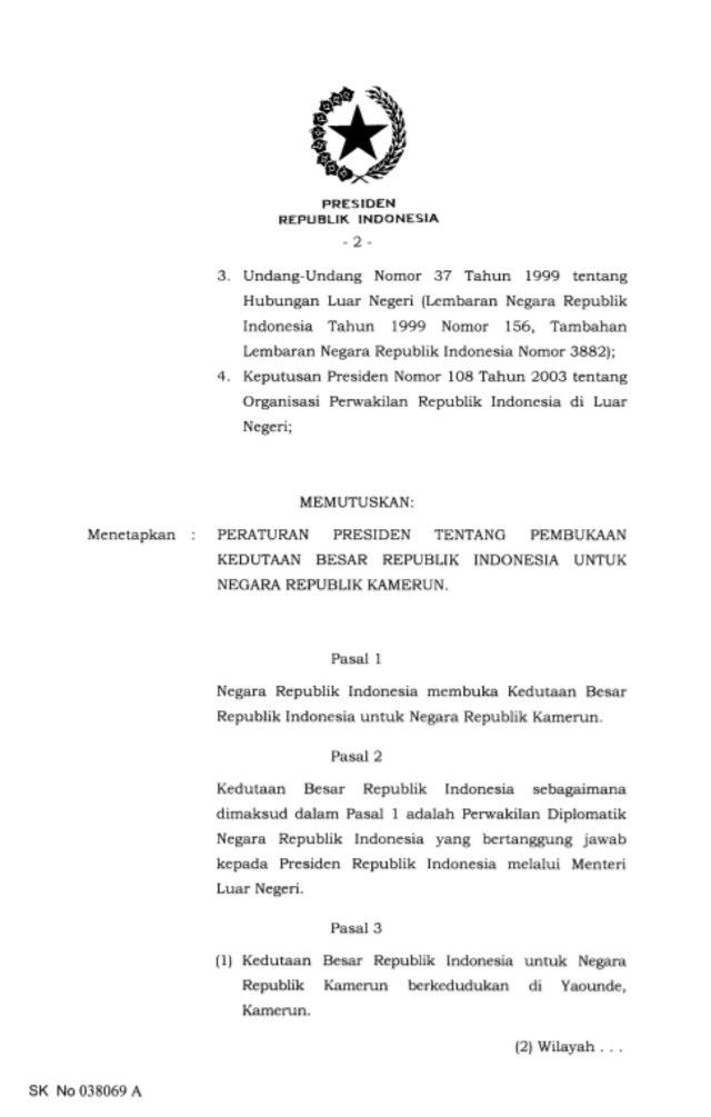 Indonesia Buka Kedutaan di Kamerun (354858)