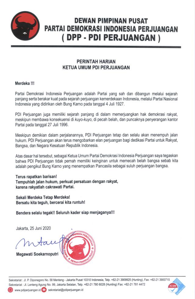Surat Perintah Harian Ketua Umum PDIP tanggal 25 Juni 2020.