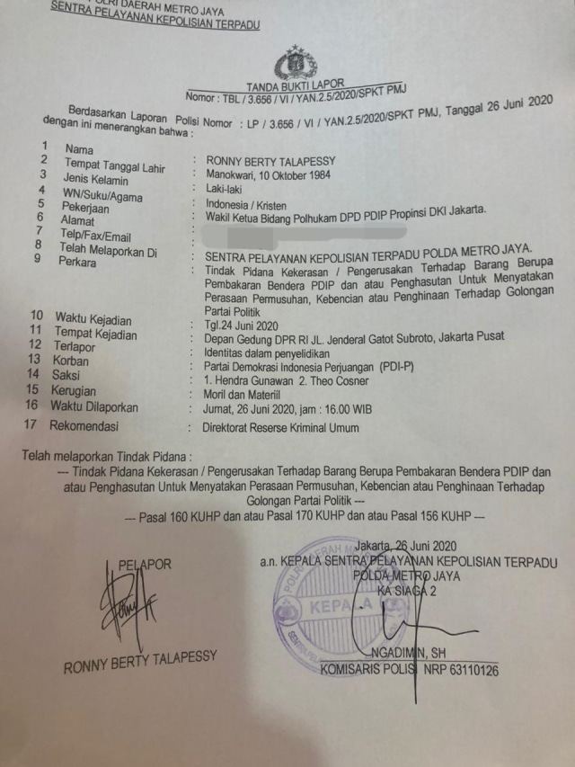 Surat laporan polisi oleh DPD PDIP
