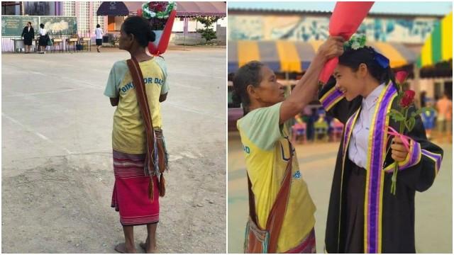 Momen Haru Ibu Berpakaian Lusuh dan Tak Beralas Kaki Datang ke Wisuda Anaknya (99080)