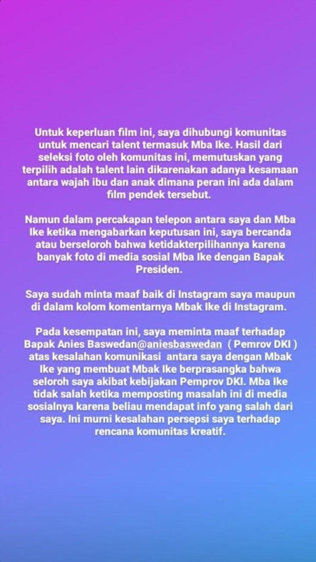 Agensi Klarifikasi Ucapan Ike Muti soal Proyek dengan Syarat Hapus Foto Jokowi (1282386)
