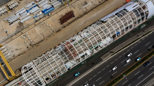 Foto: Progres Pembangunan LRT Jabodebek Lintas Pelayanan II (9999)