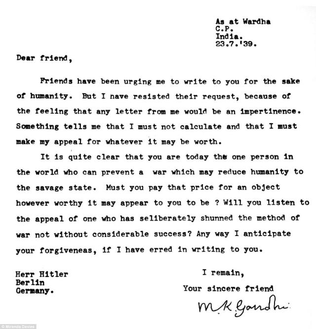 'Dear Friend', Surat Mahatma Gandhi ke Hitler untuk Cegah Perang Dunia ke-2 (7732)
