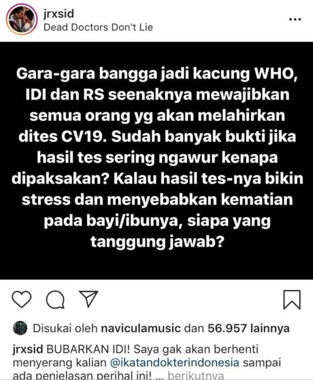 Ini Postingan Jerinx soal 'Kacung WHO' yang Dilaporkan IDI ke Polisi (21583)