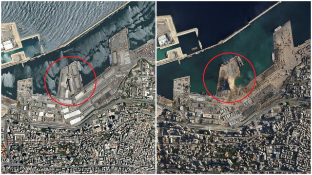 Foto Udara: Imbas Ledakan Lebanon Ciptakan Kawah Besar (285546)