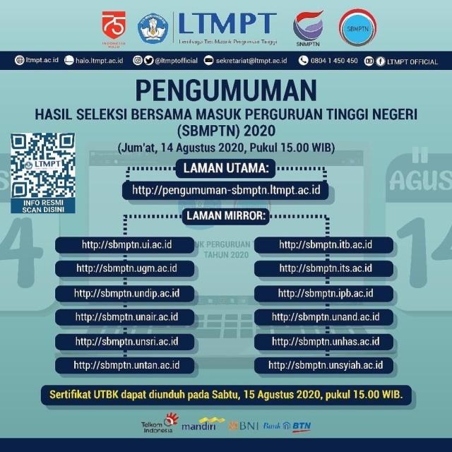 Link Pengumuman SBMPTN 2020, Akses pengumuman-sbmptn.ltmpt.ac.id & 12 Situs Ini (30581)