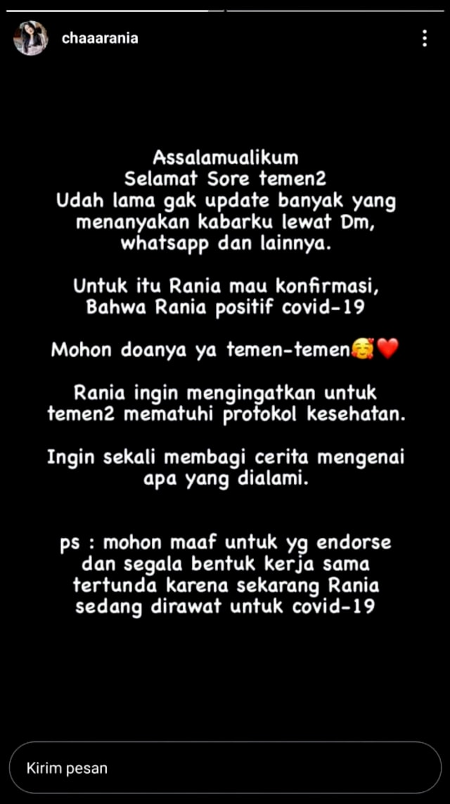 Putri Nilmaizar, Rania Salsabila Positif Corona, Diakui via Instagram Story (462949)