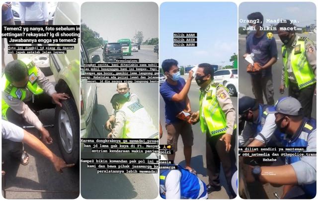 Viral Polisi yang Bantu Warga Ganti Ban Dihadiahi Lap Keringat di Dahi (28594)