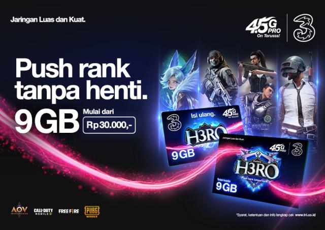 Tri Jual Kartu Perdana H3RO 9 GB Khusus Gamer, Kuota Melimpah Harga Murah (186975)