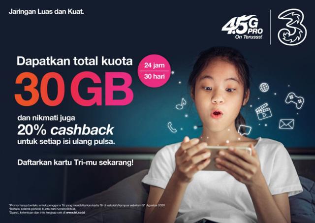Tri Berikan Paket Internet Gratis 30 GB untuk Siswa, Guru hingga Dosen (7161)