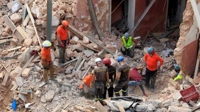 Sebulan Usai Ledakan Lebanon, Ada Tanda Kehidupan di Runtuhan Bangunan (3799)