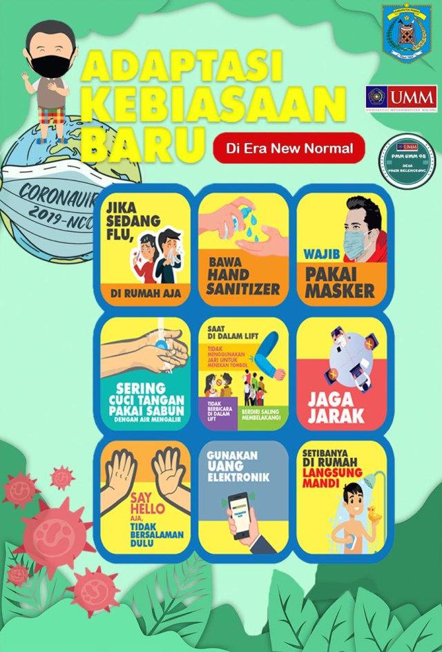 PMM UMM Lakukan Penempelan Poster Adapatasi Kebiasaan Baru di Pasar Benuo (405469)