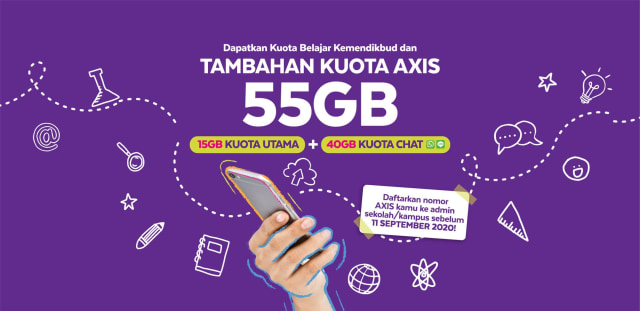 Axis Beri Tambahan Kuota Belajar Kemendikbud Jadi 55 GB Secara Gratis (8508)
