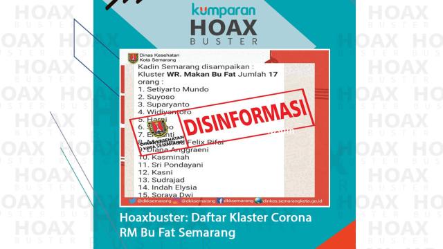 Hoaxbuster: Daftar Nama Klaster Corona RM Bu Fat Semarang (66013)
