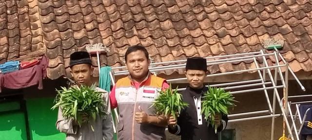 Para Santri Rumah Quran Desa Berdaya Bojong Panen Kangkung (30792)
