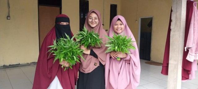 Para Santri Rumah Quran Desa Berdaya Bojong Panen Kangkung (30794)