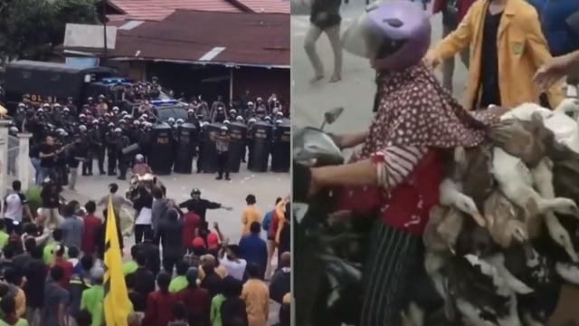 Momen Emak-Emak dengan Santai Bawa Bebek Terobos Massa yang Melakukan Demo (75043)