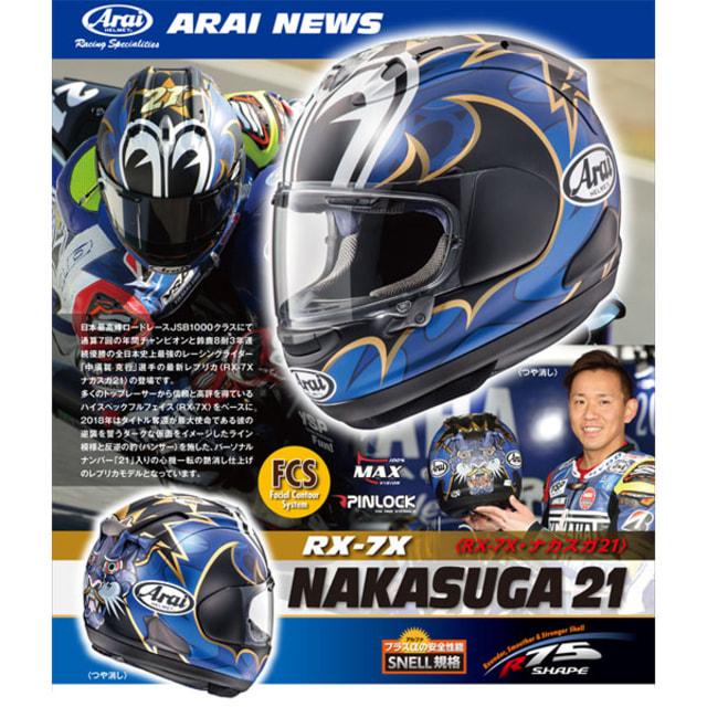 ARAI RX-7X Nakasuga 21, Helm terpopuler karena dipakai oleh pembalap MotoGP asal Jepang dengan nomor 21, Katsuyuki Nakasuga.