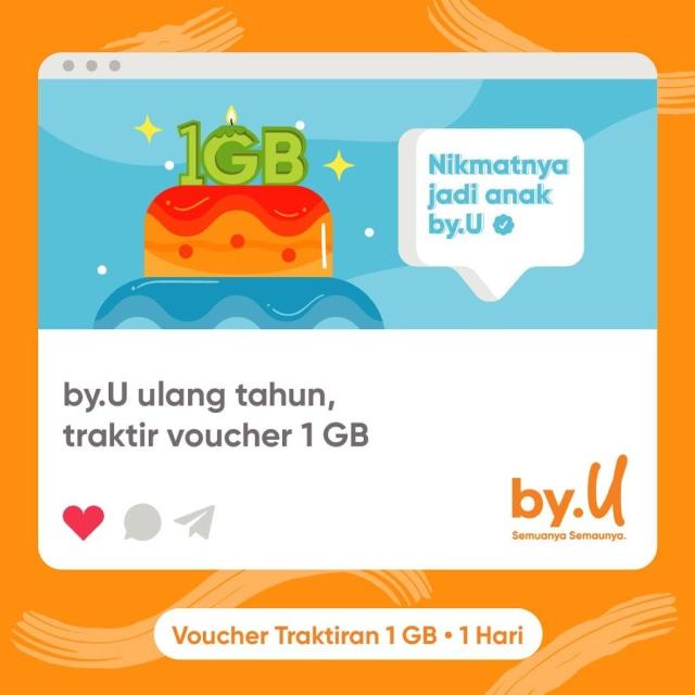 Rayakan Ulang Tahun, by.U Traktir Kuota 1 GB untuk Kamu! Mau? (56678)