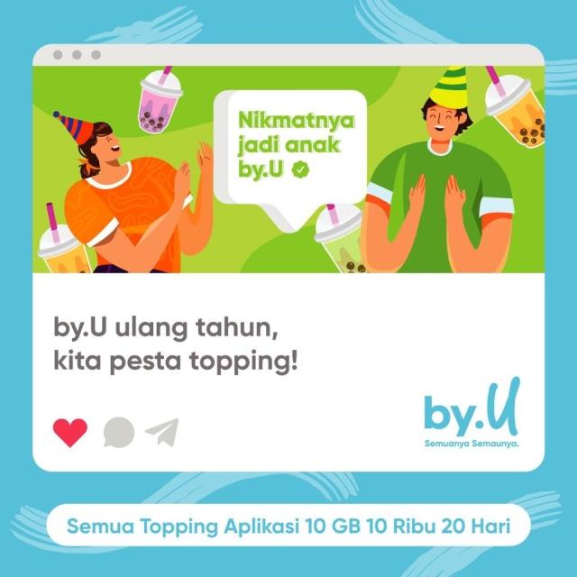 Rayakan Ulang Tahun, by.U Traktir Kuota 1 GB untuk Kamu! Mau? (56679)