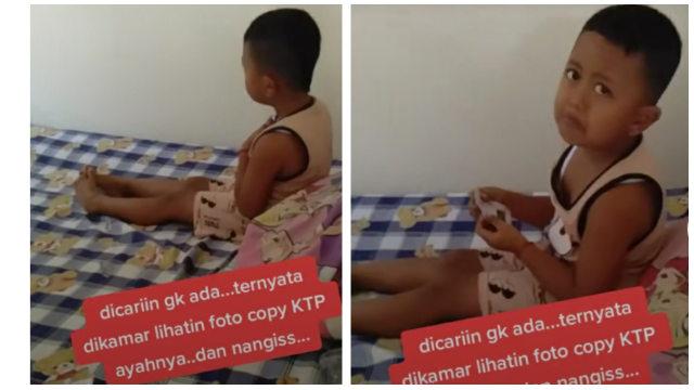 Viral Bocah Ini Menangis di Kamar Sambil Memeluk KTP Ayahnya karena Kangen (6926)