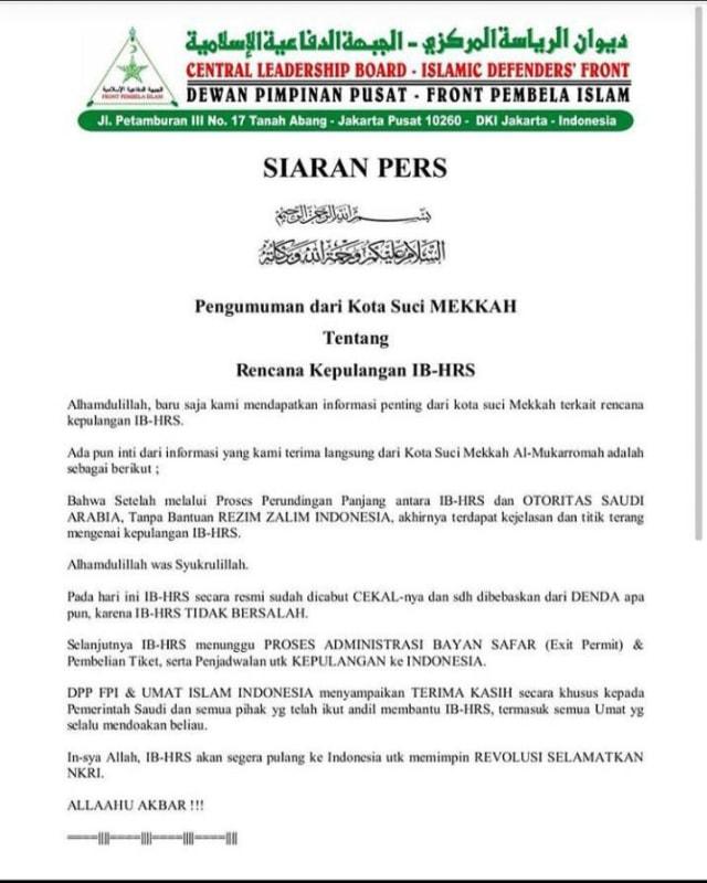 Polri Pelajari Ucapan Habib Rizieq yang akan Pimpin Revolusi di Indonesia (233497)