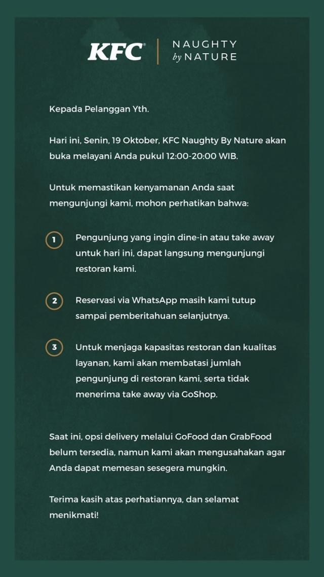 Usai Diciduk Satpol PP, KFC Senopati Umumkan Peraturan Buka-Tutup di Instagram (28478)