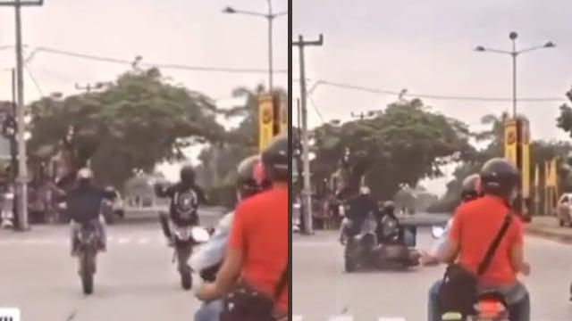 Sok-sokan Freestyle di Jalan, Dua Pemotor Diseruduk Emak-emak dari Belakang (25328)