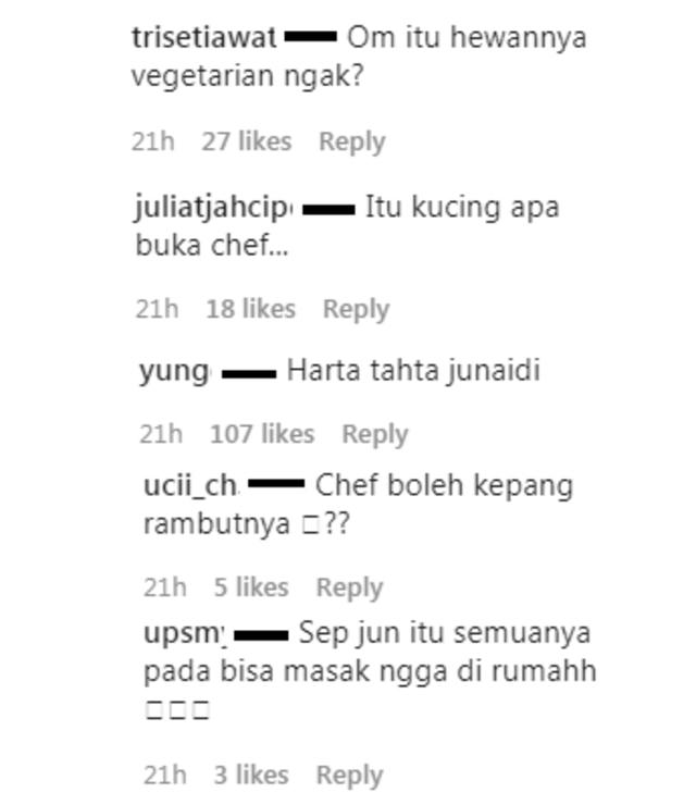 Komentar Lucu Netizen Saat Chef Juna Foto Bareng Hewan Buas (353194)