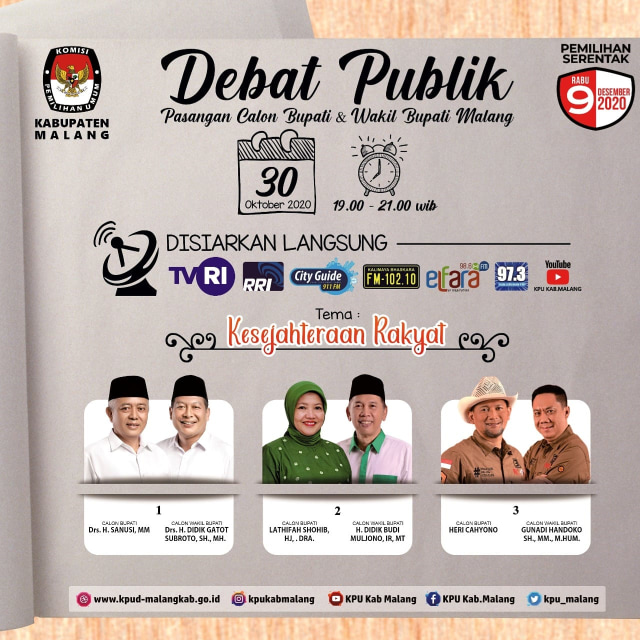 Debat Publik Pilkada Kabupaten Malang 2020