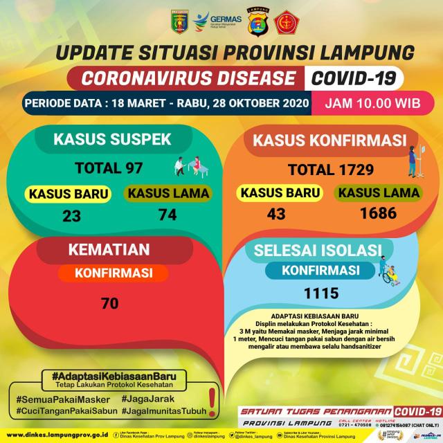 Update Corona Provinsi Lampung, 28 Oktober: Tambah 43 Positif dan Dua Meninggal (169277)
