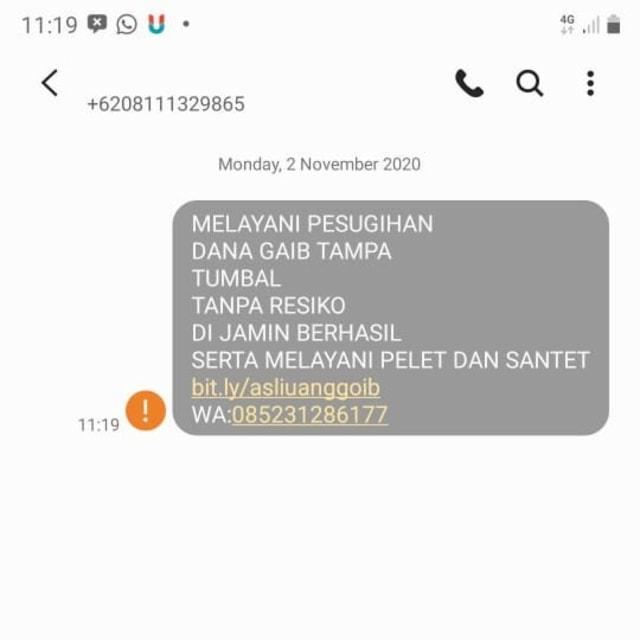 Ramai Lagi SMS Iklan Mengganggu: Jasa Pesugihan Hingga Pelet Online (41438)
