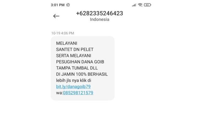 Ramai Lagi SMS Iklan Mengganggu: Jasa Pesugihan Hingga Pelet Online (41440)