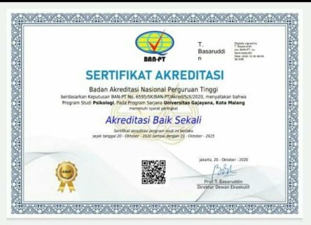 Program Studi Psikologi Universitas Gajayana Malang Raih Akreditasi Baik Sekali (556036)