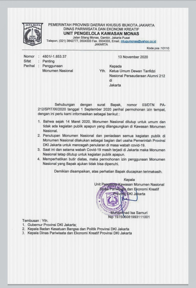 Sesuai Arahan Anies, Pemprov DKI Tolak Izin Reuni 212 di Monas (58148)