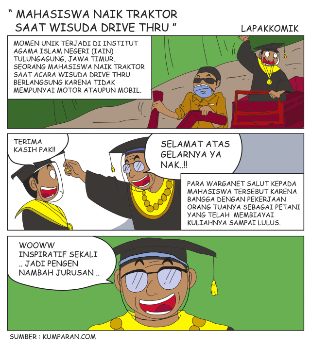 Komik: Mahasiswa Naik Traktor saat Wisuda Drive Thru (2194)