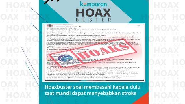 Hoaxbuster: Membasahi Kepala Dulu saat Mandi Bisa Sebabkan Stroke? (88226)
