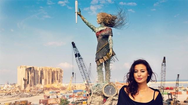 Seniman Lebanon Bikin Patung Simbol Harapan dari Puing-puing Ledakan Beirut (562221)