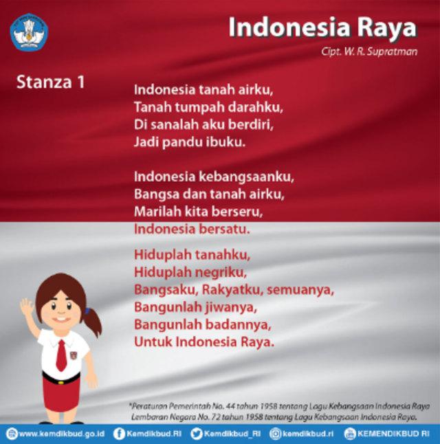 Lirik Lagu Indonesia Raya 1 Stanza Yang Sangat Familiar Bagi Wni Kumparan Com