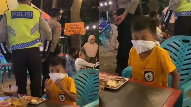 Lolos, Momen Kocak Bocah Sulap Tisu Jadi Masker saat Panik Ada Razia Polisi (571044)