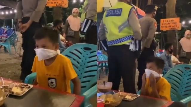 Lolos, Momen Kocak Bocah Sulap Tisu Jadi Masker saat Panik Ada Razia Polisi (571045)