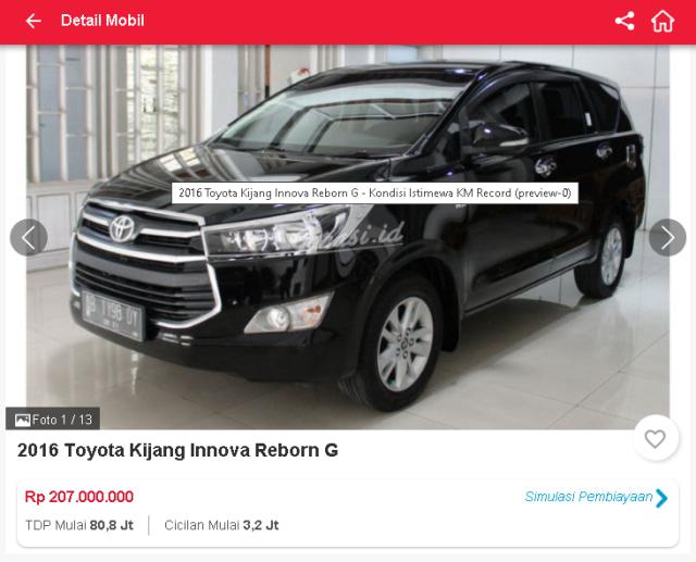 Berburu Toyota Innova Reborn Bekas, Mulai dari Rp 190 Jutaan (51314)