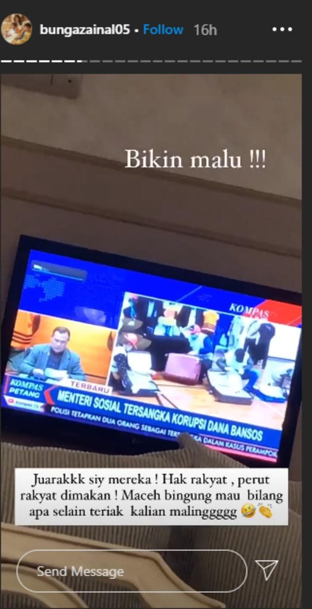 Bunga Zainal soal Mensos Juliari Tersangka Korupsi Dana Bansos: Kalian Maling (46515)