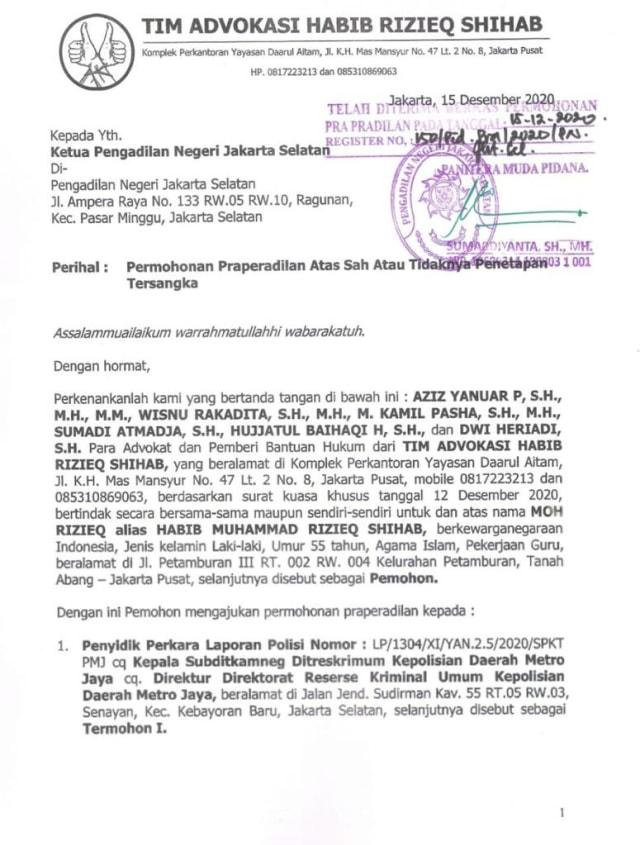 FPI soal Praperadilan Habib Rizieq: Berantas Kriminalisasi Ulama (976613)