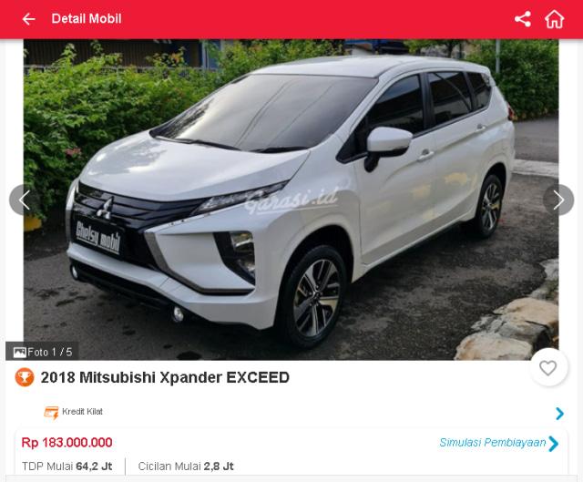 Harga Mitsubishi Xpander Bekas, Ada yang Rp 160 Jutaan (31658)