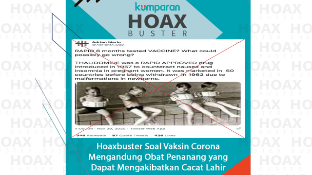 Hoaxbuster: Soal Klaim Vaksin COVID-19 akan Berefek Cacat pada Janin (50917)