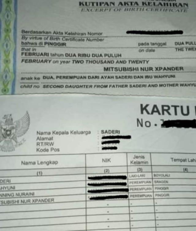 Viral Bayi di Riau Diberi Nama Mitsubishi Nur Xpander (390416)