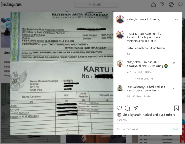 Viral Bayi di Riau Diberi Nama Mitsubishi Nur Xpander (390417)